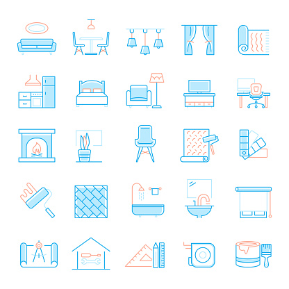 Set of Interior Design and Home Decoration Related Flat Line Icons. Simple Outline Symbol Icons.