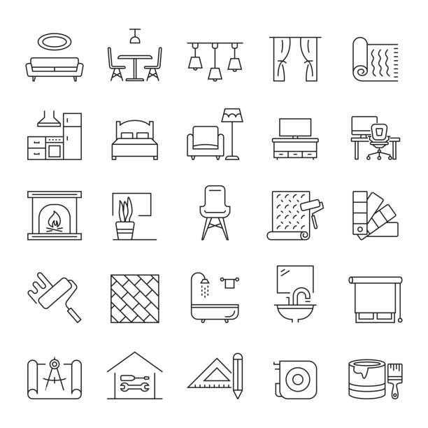 Set of Interior Design and Home Decoration Related Line Icons. Editable Stroke. Simple Outline Icons. Set of Interior Design and Home Decoration Related Line Icons. Editable Stroke. Simple Outline Icons. interior designer stock illustrations