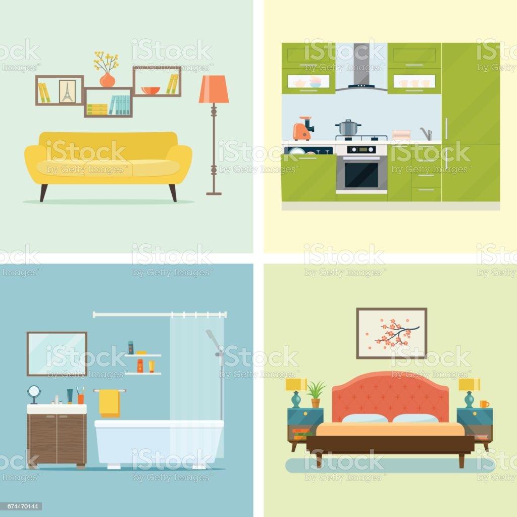 Set of interior design room Vector flat illustration vector art illustration