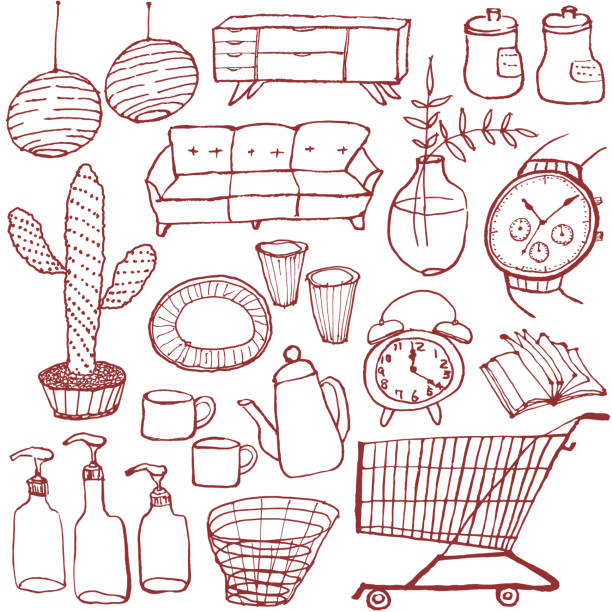 illustrazioni stock, clip art, cartoni animati e icone di tendenza di set of interior goods. hand drawn illustrations. - grocery home