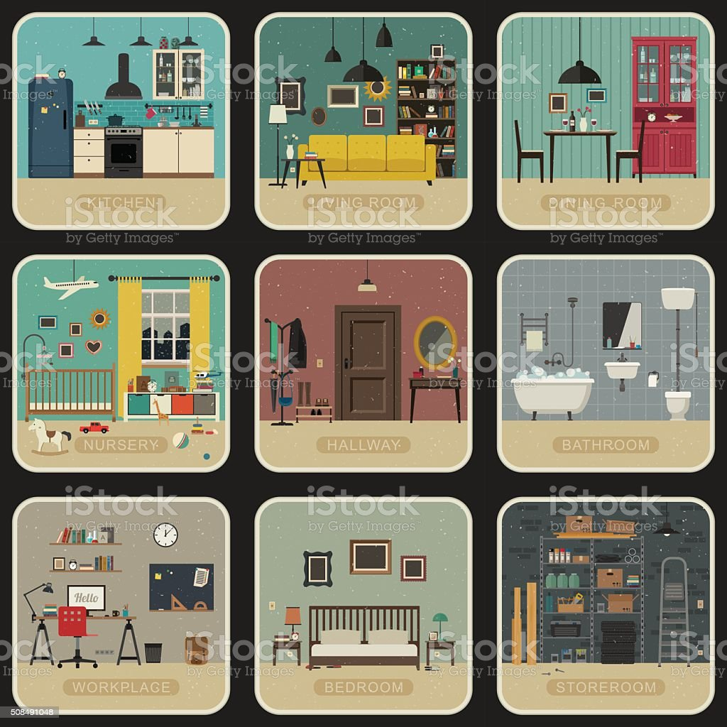 Set of interior rooms. vector art illustration
