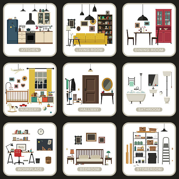 Set of interior rooms. Set of interior rooms on white backgrounds. Vector flat illustrations of bathroom, living room, kitchen, etc. bedroom silhouettes stock illustrations