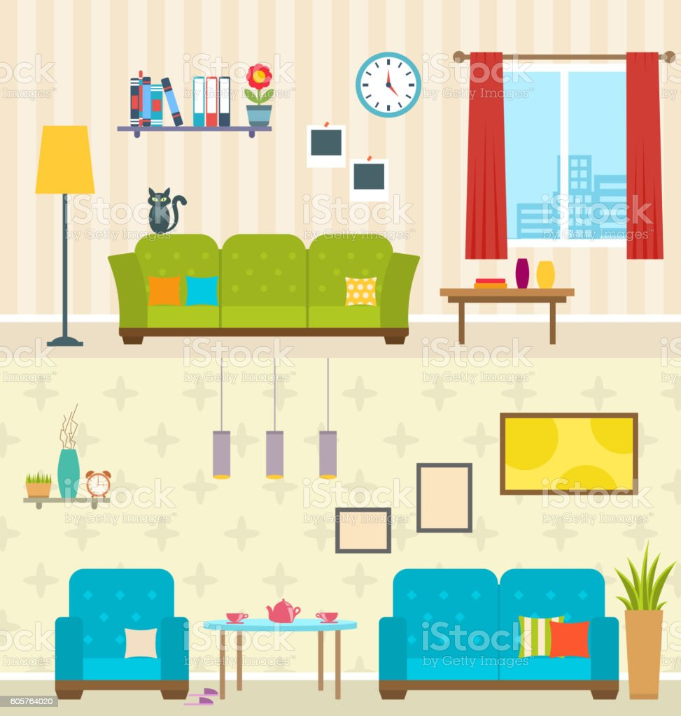 Set of Interiors  Living Rooms. Decoration  Modern Apartments vector art illustration