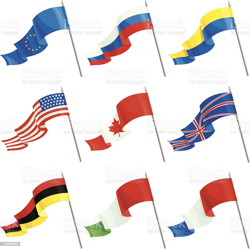 Set of International Flags vector art illustration