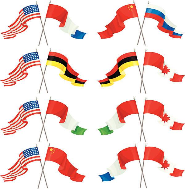 Set of International Friendship Flags vector art illustration