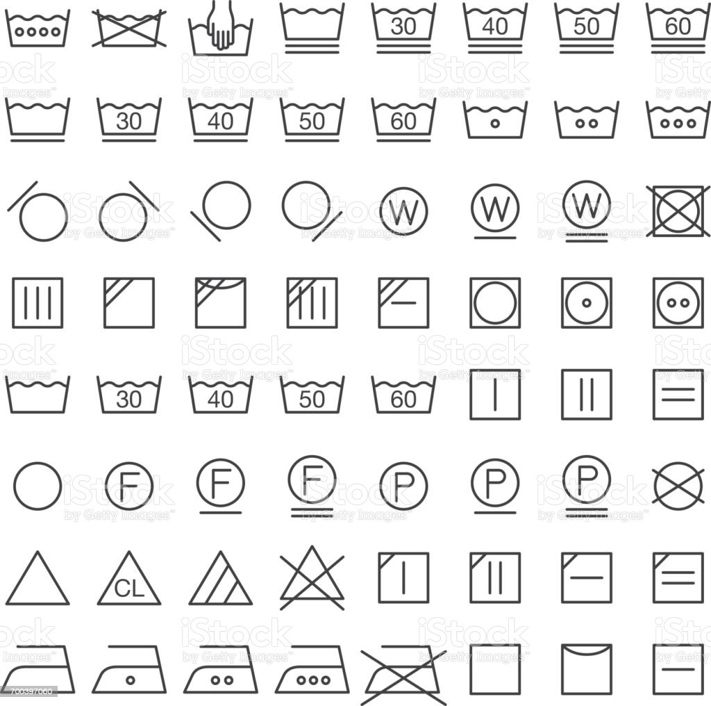 Set Of International Laundry Symbols Stock Vector Art More Images
