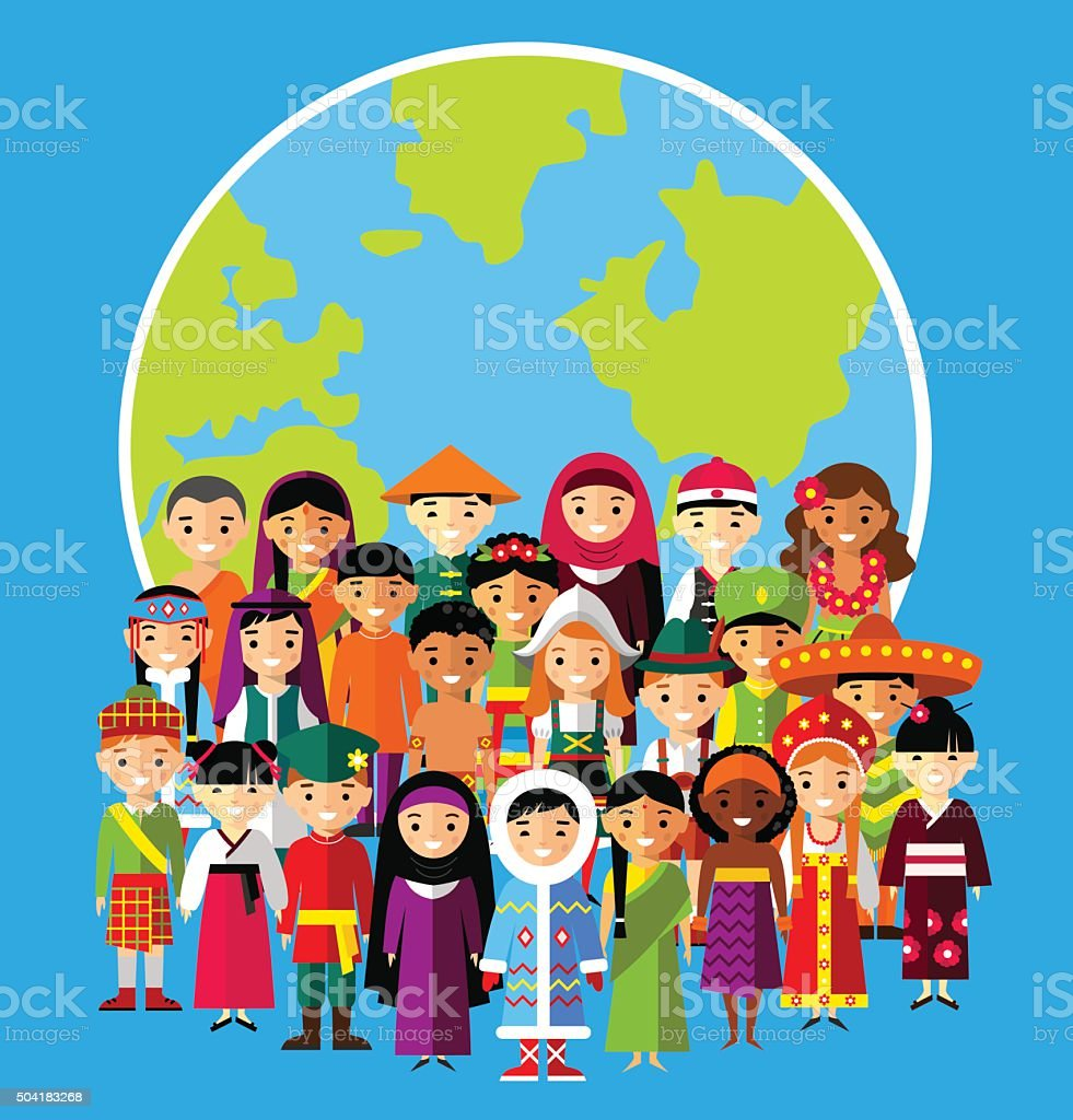 Set of international people in traditional costumes around the world vector art illustration
