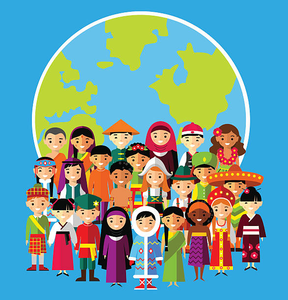 set of international people in traditional costumes around the world - gelenek stock illustrations