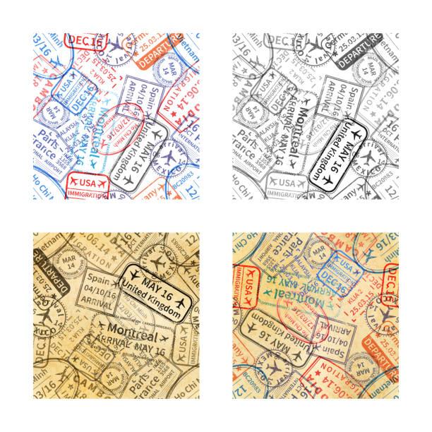 ilustrações, clipart, desenhos animados e ícones de conjunto de carimbos de borracha viagens internacionais impressões padrões sem emenda - passaporte e visto