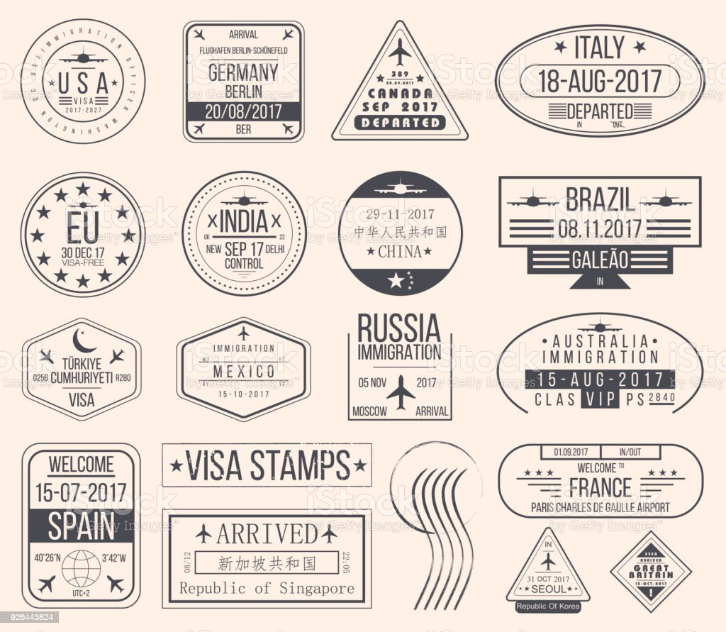 Set of international visa stamps. Vintage travel visa passport stamps