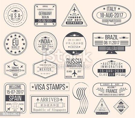 Set of international visa stamps. Vintage travel visa passport stamps. Vector