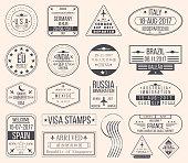 Set of international visa stamps. Vintage travel visa passport stamps
