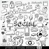 Set of Internet social strategy doodle element, vector illustration