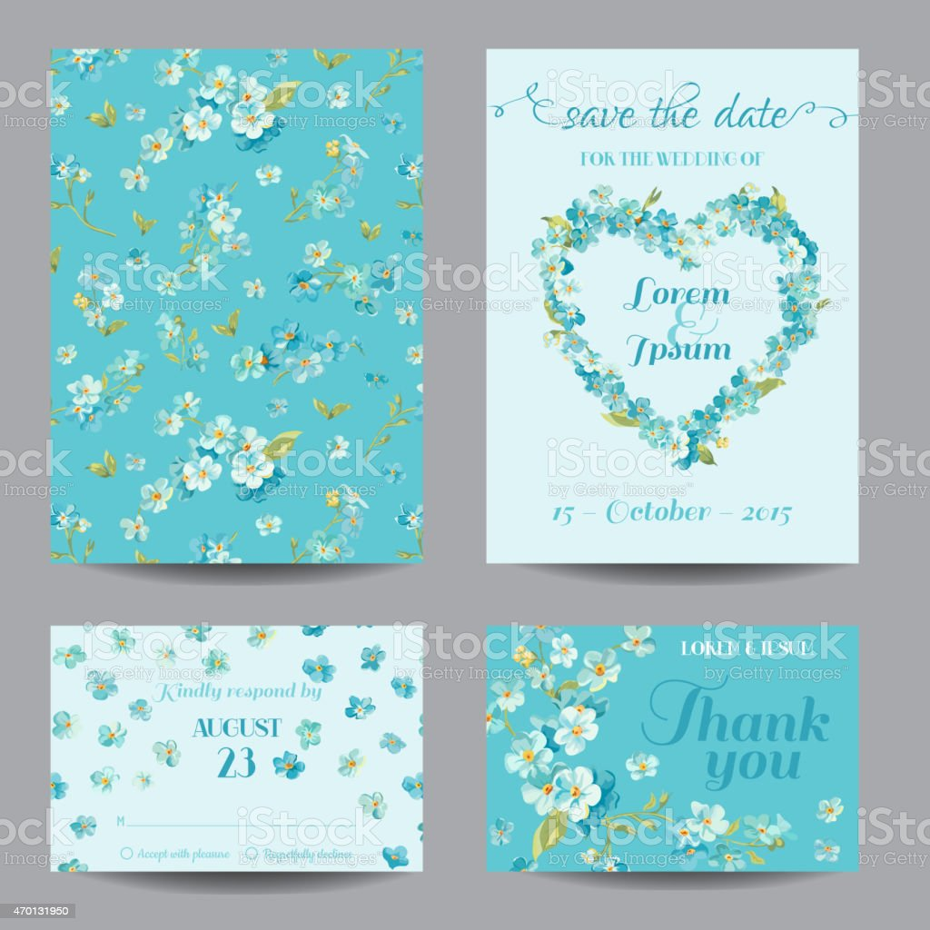 Set Of Invitation And Greeting Cards For Different Occasions Stock