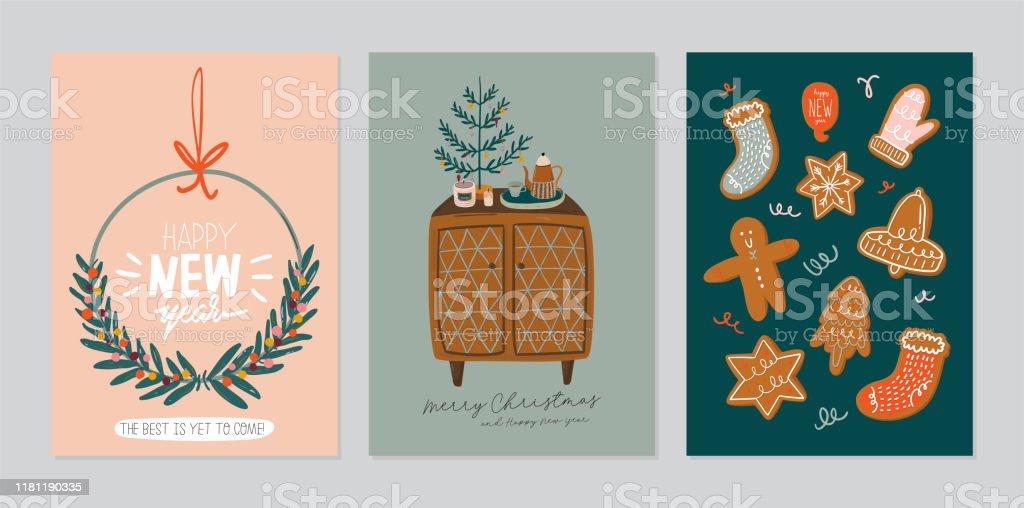 Set of invitation card - scandinavian interior with home decorations. - Royalty-free Abeto arte vetorial