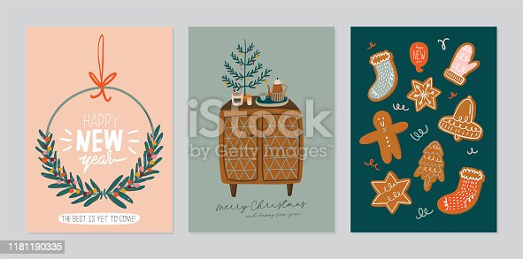 Set of invitation card - scandinavian interior with home decorations. Cozy Winter holiday season. Cute illustration and Christmas typography in Hygge style. Vector. Isolated.