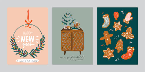 set of invitation card - scandinavian interior with home decorations. - christmas background stock illustrations