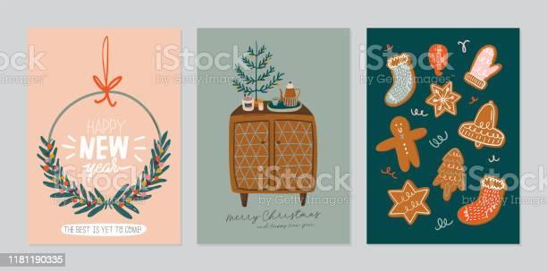 Set Of Invitation Card Scandinavian Interior With Home Decorations - Arte vetorial de stock e mais imagens de Abeto