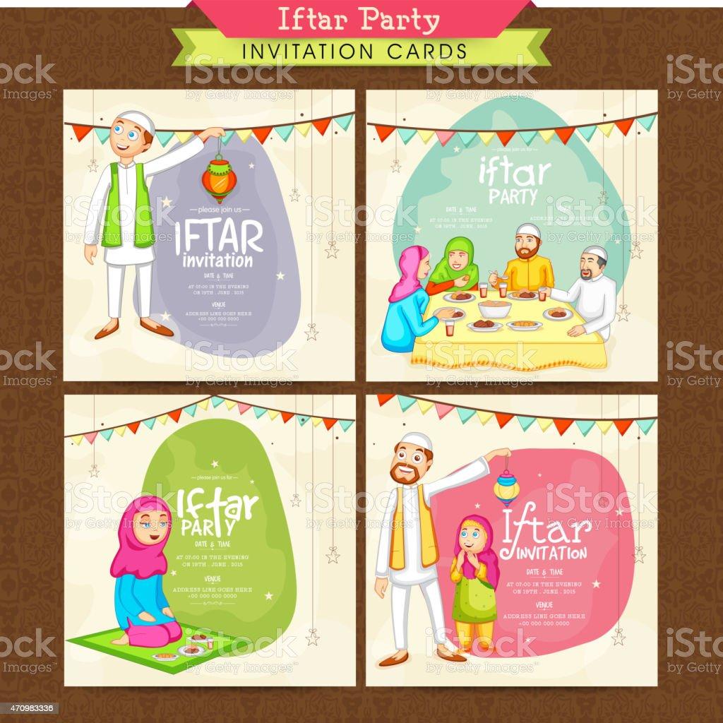 Set of invitation cards for ramadan kareem iftar party stock vector set of invitation cards for ramadan kareem iftar party royalty free set of invitation stopboris Image collections