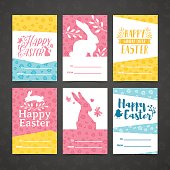 Set of invitation for easter. Template for the design of cards for the spring holiday of Happy Easter party . Decor with a floral pattern. Logos with silhouettes of rabbit, chick and plant. Vector