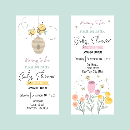 Set of invitations to a Baby Shower with a cute bee. Flat style, summer background with an inscription. Vector illustration.