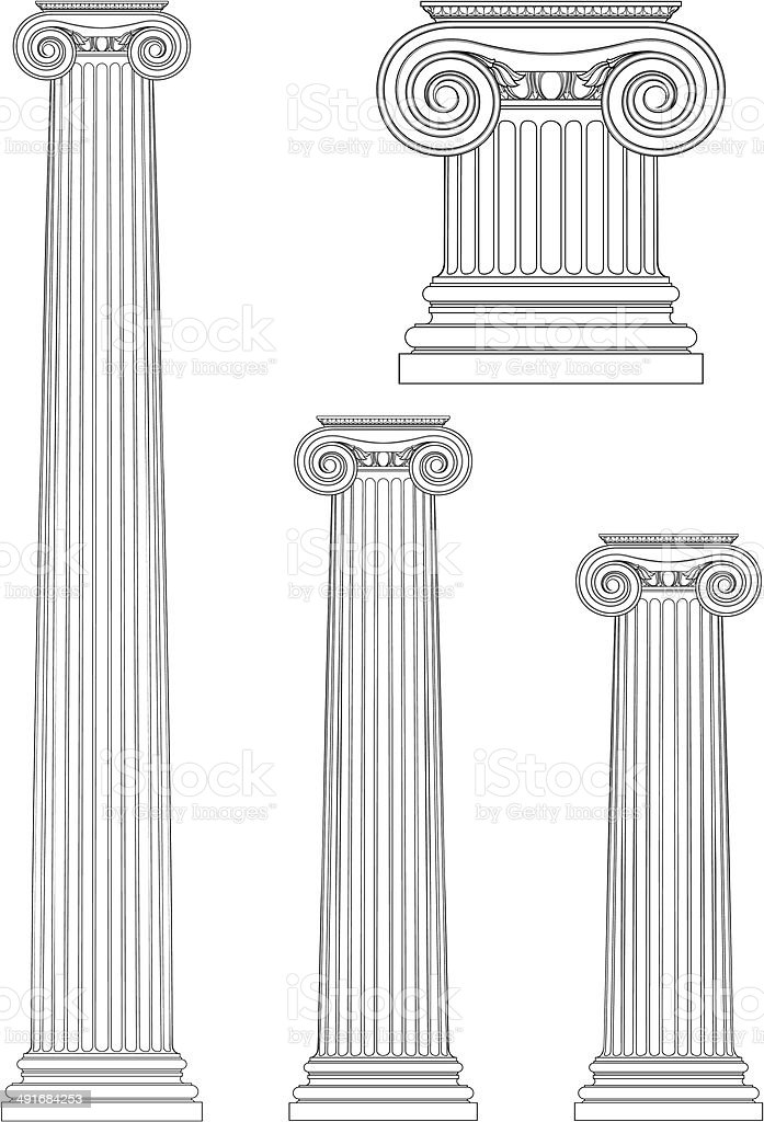 set of ionic column vector art illustration