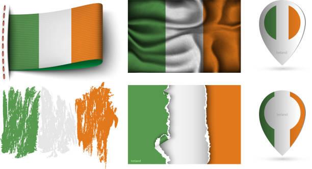 satz von irland flaggen sammlung isoliert auf weiss - flagge irland stock-grafiken, -clipart, -cartoons und -symbole