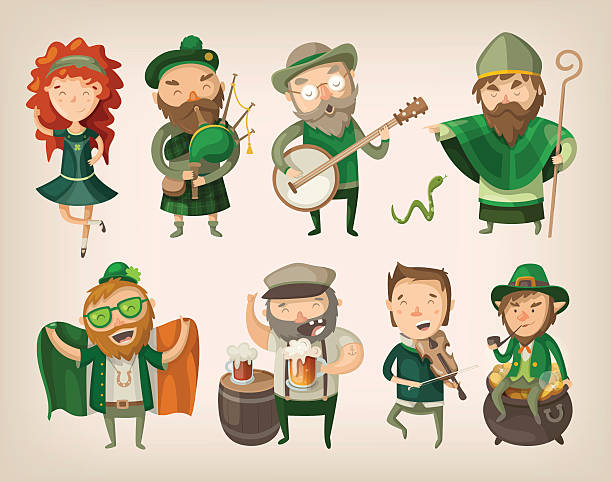 Set of irish characters. Set of people and characters you can find in an irish pub at saint Patrick's day. irish culture stock illustrations