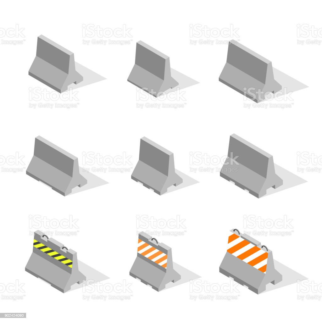 Set of iron concrete road barriers in 3D, vector illustration. vector art illustration