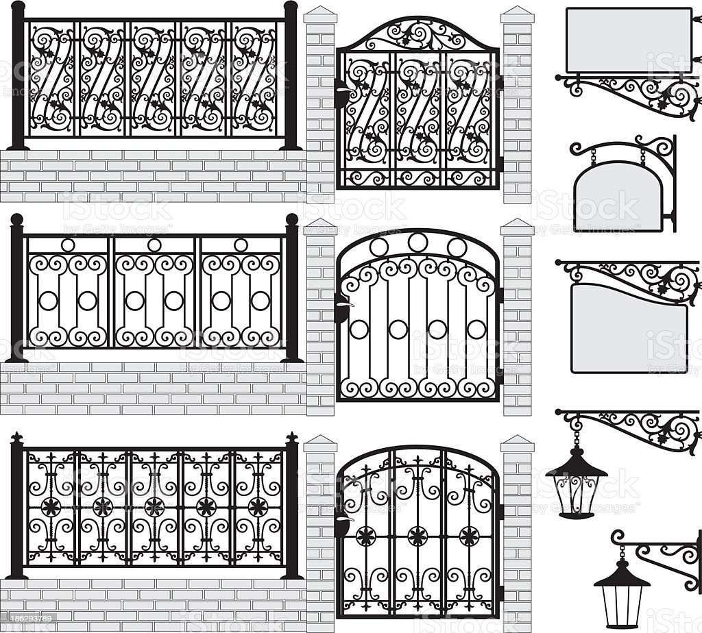 Set of iron wrought fences, gates, signboards, lanterns.Vector royalty-free stock vector art