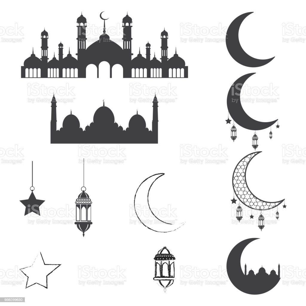 Set Of Islam Ornaments For Holidays Vector Stock Vector Art & More ...