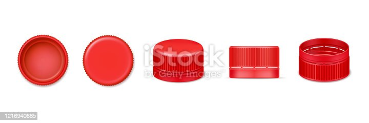 Set of isolated 3d bottle cap or vector realistic lid for water. Red beverage cover from top and bottom, side view. Design of plastic element for liquid cover. Garbage and recycle, fluid container