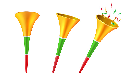 Set of isolated 3d party horns or soccer trumpet