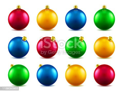 Set of isolated 3d toys for 2019 new year or realistic colorful baubles for ornamenting christmas tree. Volumetric Xmas spheres for holiday decoration. Winter festive and celebration theme