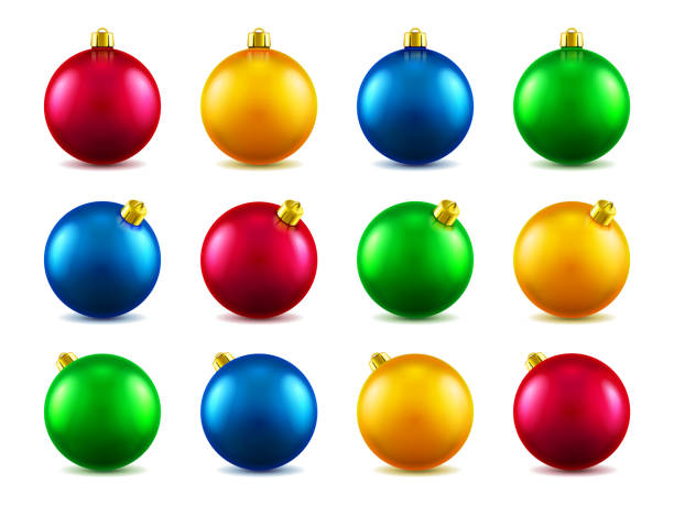 Set of isolated 3d toys for 2019 new year or realistic colorful baubles for ornamenting christmas tree. Volumetric Xmas spheres for holiday decoration. Winter festive and celebration theme Set of isolated 3d toys for 2019 new year or realistic colorful baubles for ornamenting christmas tree. Volumetric Xmas spheres for holiday decoration. Winter festive and celebration theme christmas ornament stock illustrations