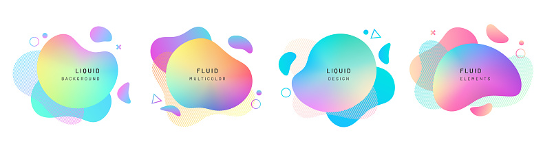 Set of isolated abstract liquid shapes, dynamic