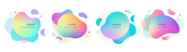 ilustrações de stock, clip art, desenhos animados e ícones de set of isolated abstract liquid shapes, dynamic - líquido