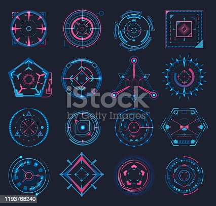 Set of isolated aim or game crosshair, target at radar and futuristic weapon cursor, military sniper circle or triangle cross. Tech and technology UI element, optical rifle. Aiming and shooting,gaming