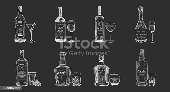 Set of isolated alcohol beverages sketches. Bottles of vodka, champagne, tequila, brandy, red and white wine, whiskey, martini near wineglass. May be used for restaurant or bar menu
