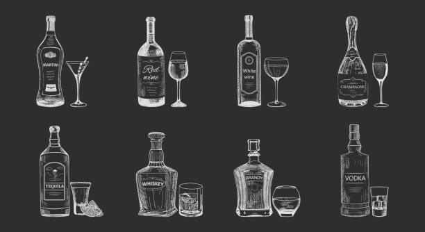 Set of isolated alcohol beverages, bottles sketch Set of isolated alcohol beverages sketches. Bottles of vodka, champagne, tequila, brandy, red and white wine, whiskey, martini near wineglass. May be used for restaurant or bar menu bottle stock illustrations