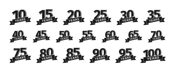 Set of isolated anniversary icons numbers with ribbon vector illustration Collection of isolated anniversary icons numbers with ribbon vector illustration anniversary stock illustrations