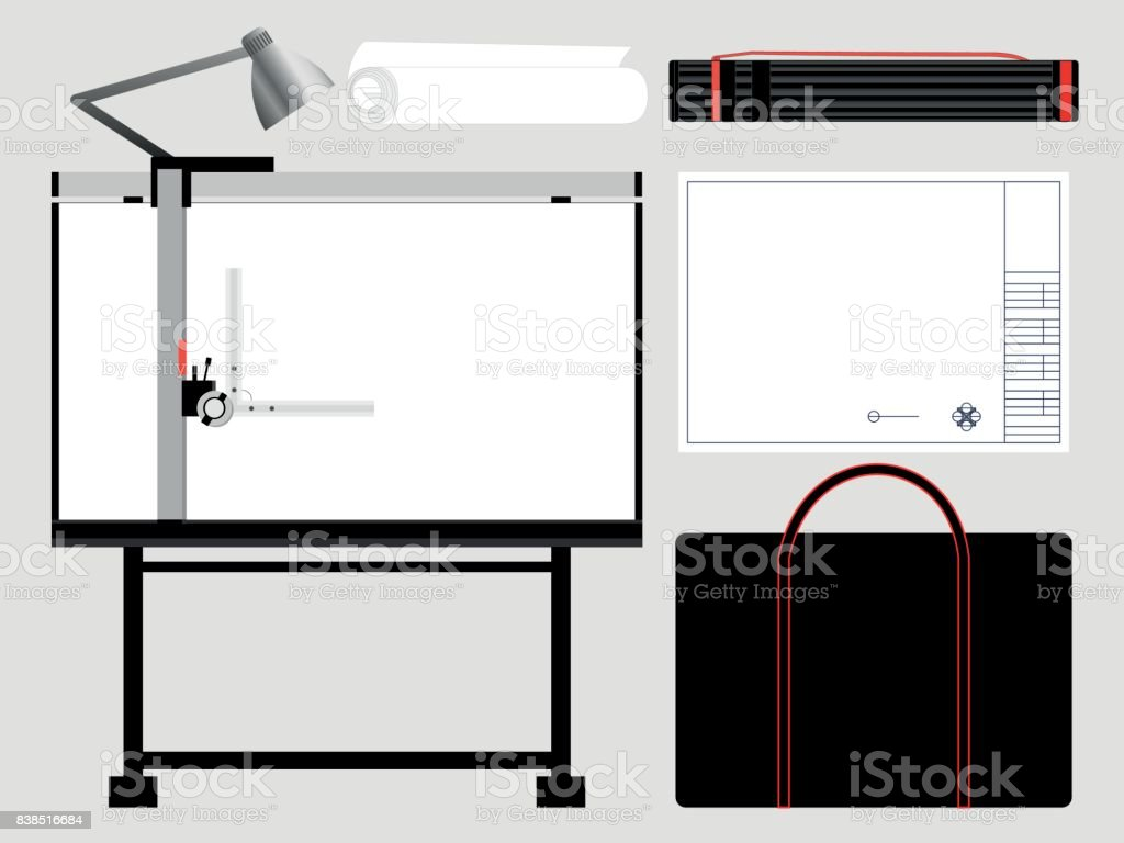 Set of isolated architect tools, drafting table. Vector illustration. vector art illustration