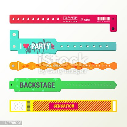 Plastic event access bracelets, wristlet for party entrance or wristband for concert backstage identification, stadium fan zone id, arm bracelet for security checking. Identity and vip, event theme