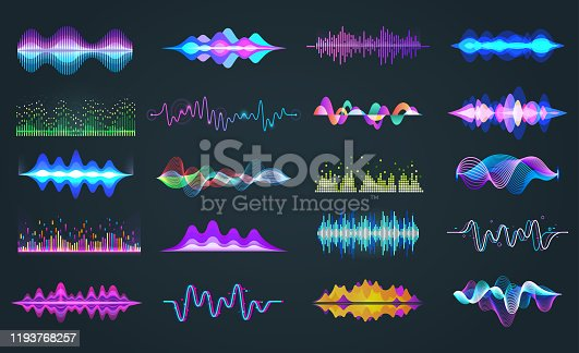 Set of isolated audio equalizer or voice frequency, sound waves or music spectrum. Bar soundwave for hud design. Music and musical signal, recorder and studio, recorder and digital theme