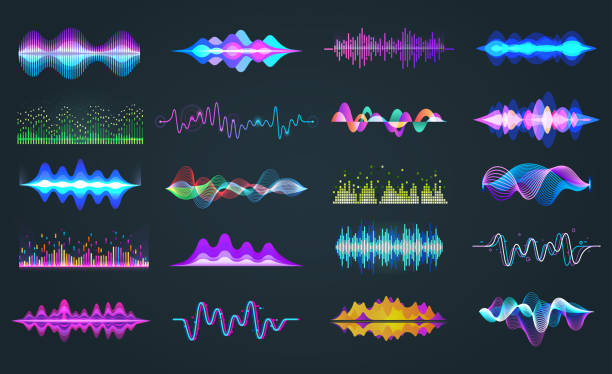 Set of isolated audio equalizer or voice frequency Set of isolated audio equalizer or voice frequency, sound waves or music spectrum. Bar soundwave for hud design. Music and musical signal, recorder and studio, recorder and digital theme wave pattern stock illustrations