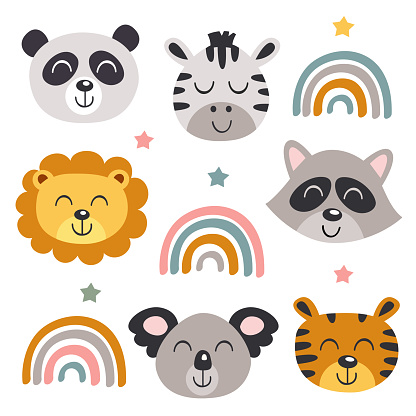 set of isolated baby animals faces and rainbows