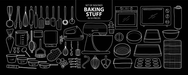 Set of isolated baking stuff in 55 pieces. Cute hand drawn kitchen tools vector illustration only white outline. Set of isolated baking stuff in 55 pieces. Cute hand drawn kitchen tools vector illustration only white outline on black background. oven stock illustrations
