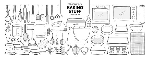 Set of isolated baking stuff in 55 pieces. Cute hand drawn kitchen tools vector illustration in black outline and white plane. Set of isolated baking stuff in 55 pieces. Cute hand drawn kitchen tools vector illustration in black outline and white plane on white background. cooking drawings stock illustrations