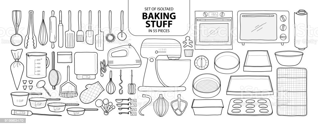 Set of isolated baking stuff in 55 pieces. Cute hand drawn kitchen tools vector illustration in black outline and white plane. vector art illustration
