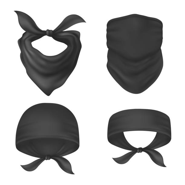 Set of isolated bandanna and face mask Set of isolated bandanna and face mask, headband and balaclava, buff and head scarf, black sweatband, sport or bike, dust kerchief. Mockup of handkerchief. Man and woman, unisex cloth for head.Fashion headscarf stock illustrations